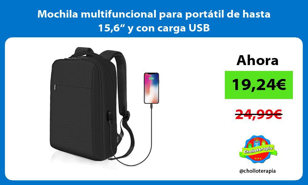 """Mochila multifuncional para portátil de hasta 156"""" y con carga USB"""