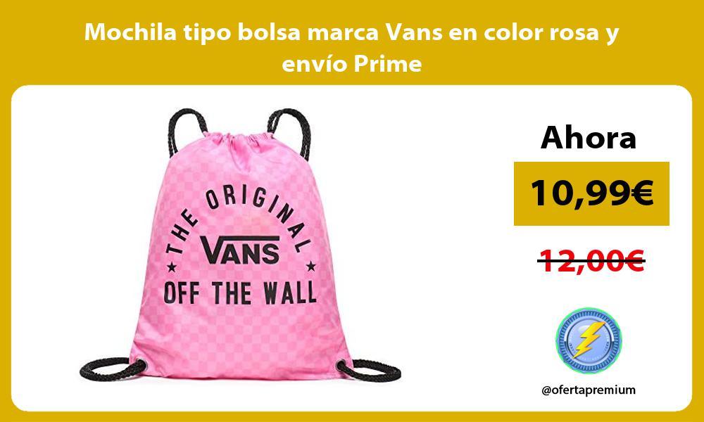 Mochila tipo bolsa marca Vans en color rosa y envío Prime