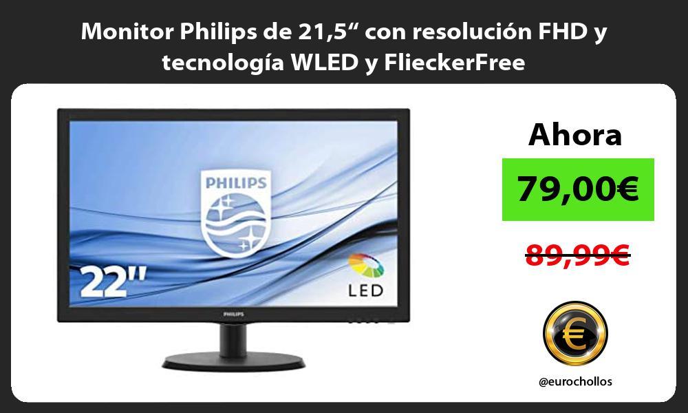 """Monitor Philips de 215"""" con resolución FHD y tecnología WLED y FlieckerFree"""