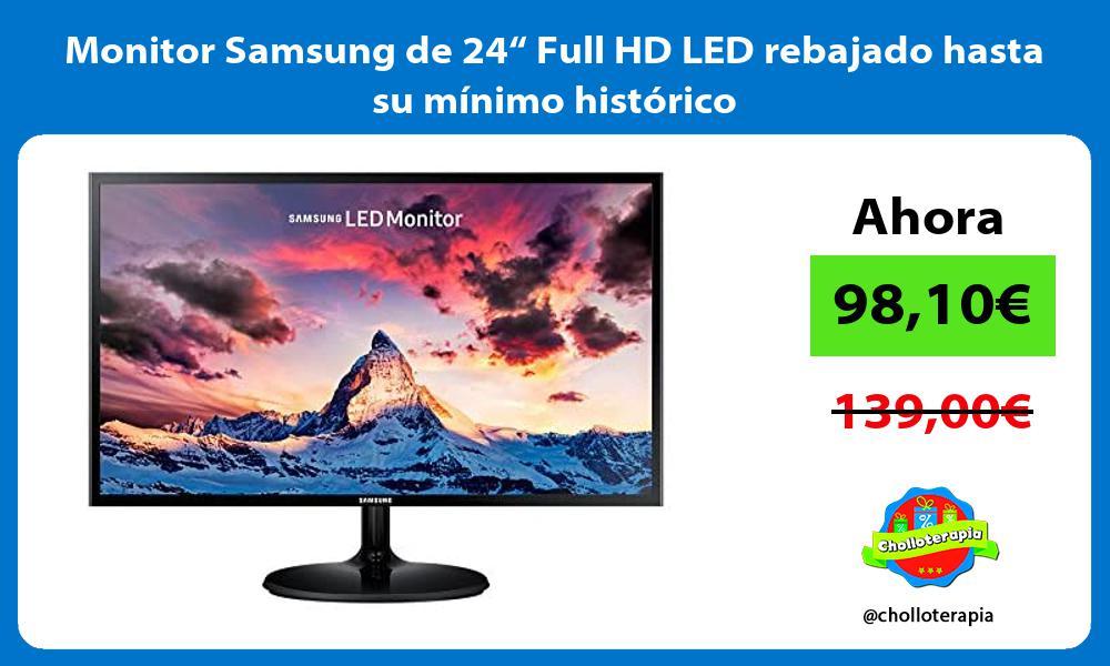 """Monitor Samsung de 24"""" Full HD LED rebajado hasta su mínimo histórico"""