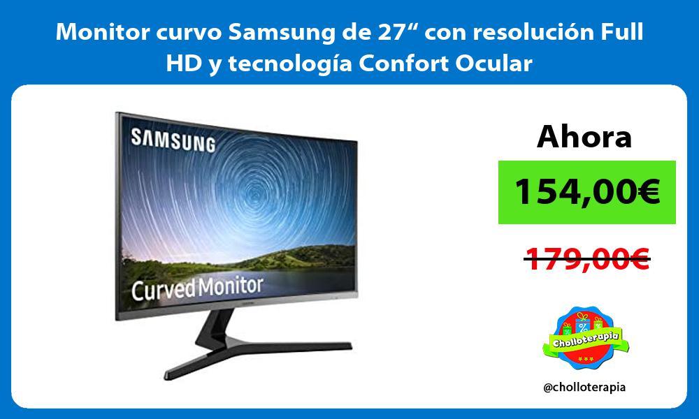 """Monitor curvo Samsung de 27"""" con resolución Full HD y tecnología Confort Ocular"""