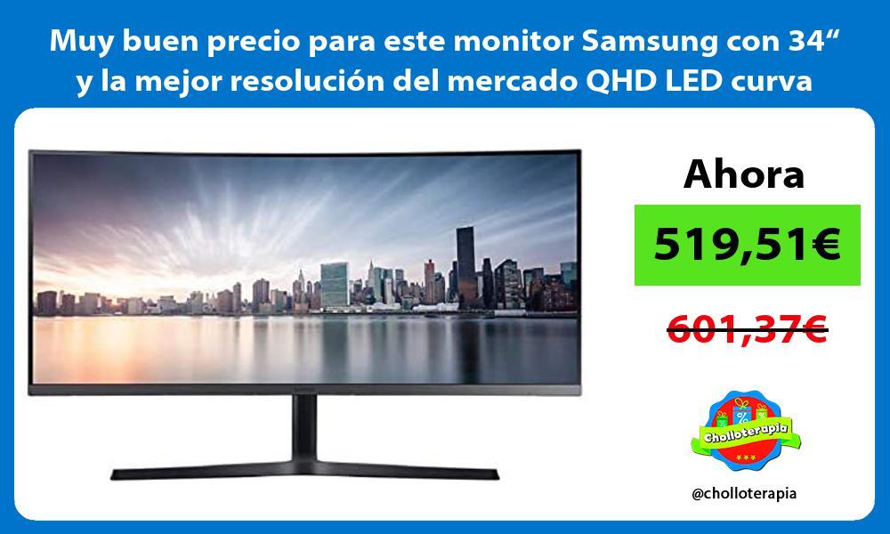 """Muy buen precio para este monitor Samsung con 34"""" y la mejor resolución del mercado QHD LED curva"""