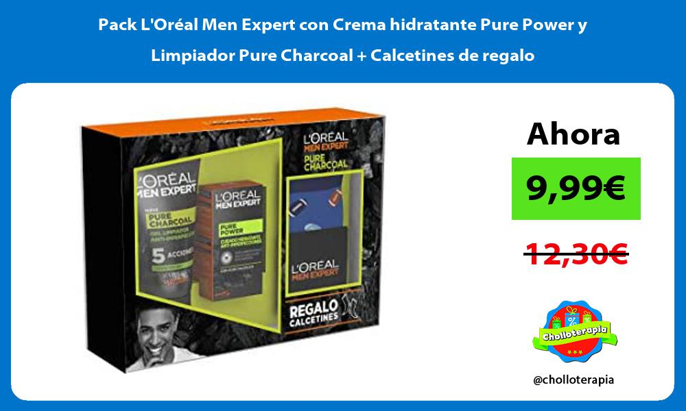 Pack LOréal Men Expert con Crema hidratante Pure Power y Limpiador Pure Charcoal Calcetines de regalo