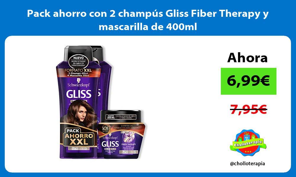 Pack ahorro con 2 champús Gliss Fiber Therapy y mascarilla de 400ml