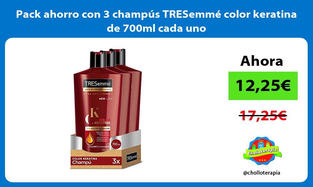 Pack ahorro con 3 champús TRESemmé color keratina de 700ml cada uno
