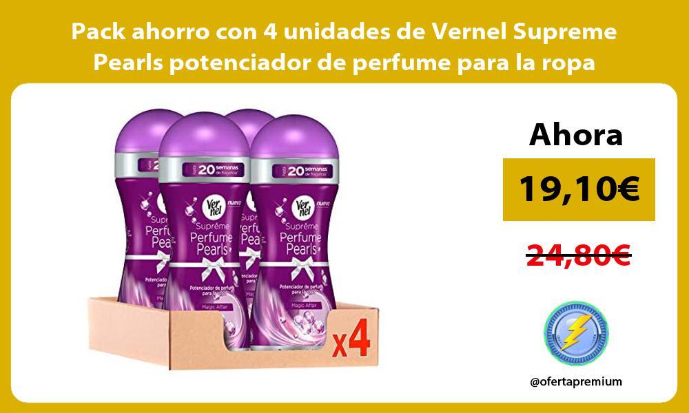 Pack ahorro con 4 unidades de Vernel Supreme Pearls potenciador de perfume para la ropa