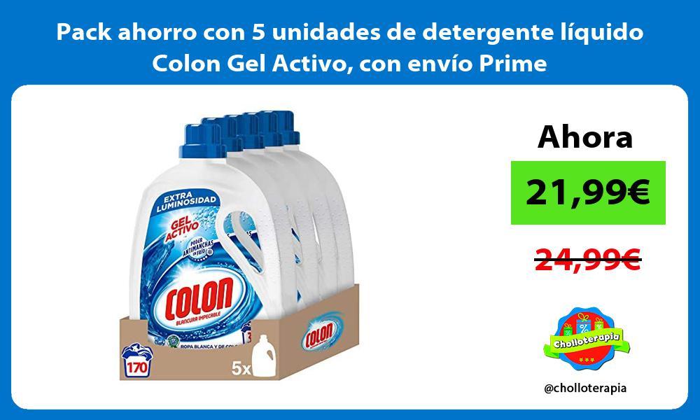 Pack ahorro con 5 unidades de detergente líquido Colon Gel Activo con envío Prime