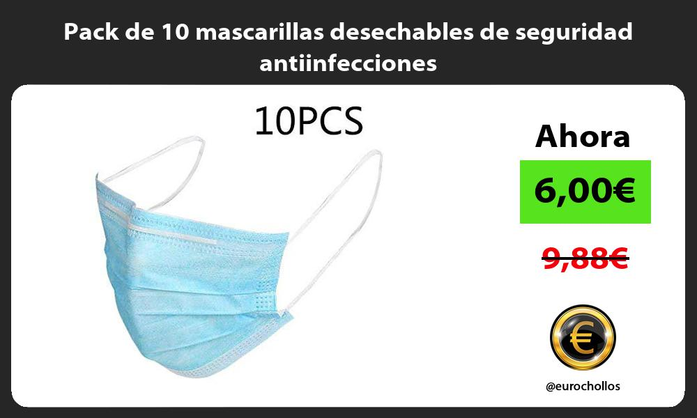 Pack de 10 mascarillas desechables de seguridad antiinfecciones