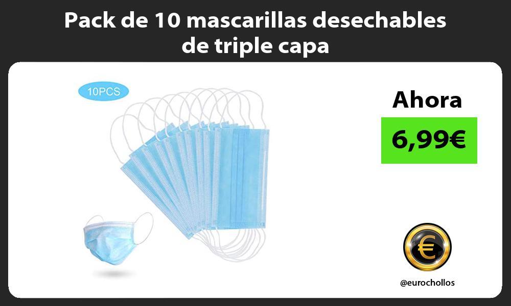 Pack de 10 mascarillas desechables de triple capa