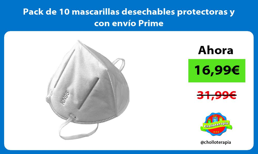 Pack de 10 mascarillas desechables protectoras y con envío Prime
