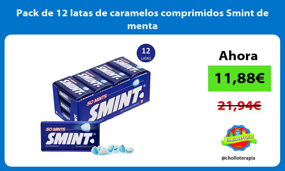 Pack de 12 latas de caramelos comprimidos Smint de menta