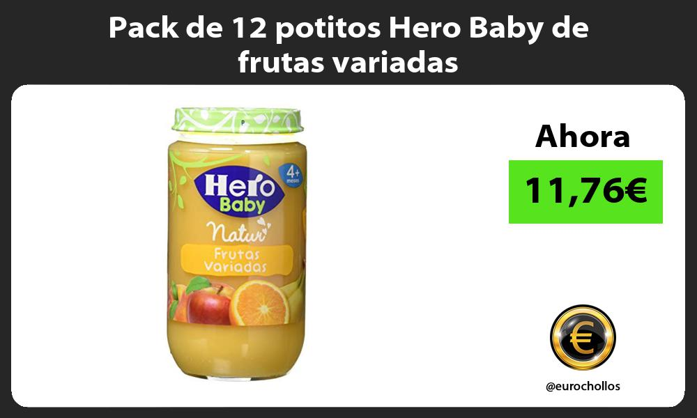 Pack de 12 potitos Hero Baby de frutas variadas