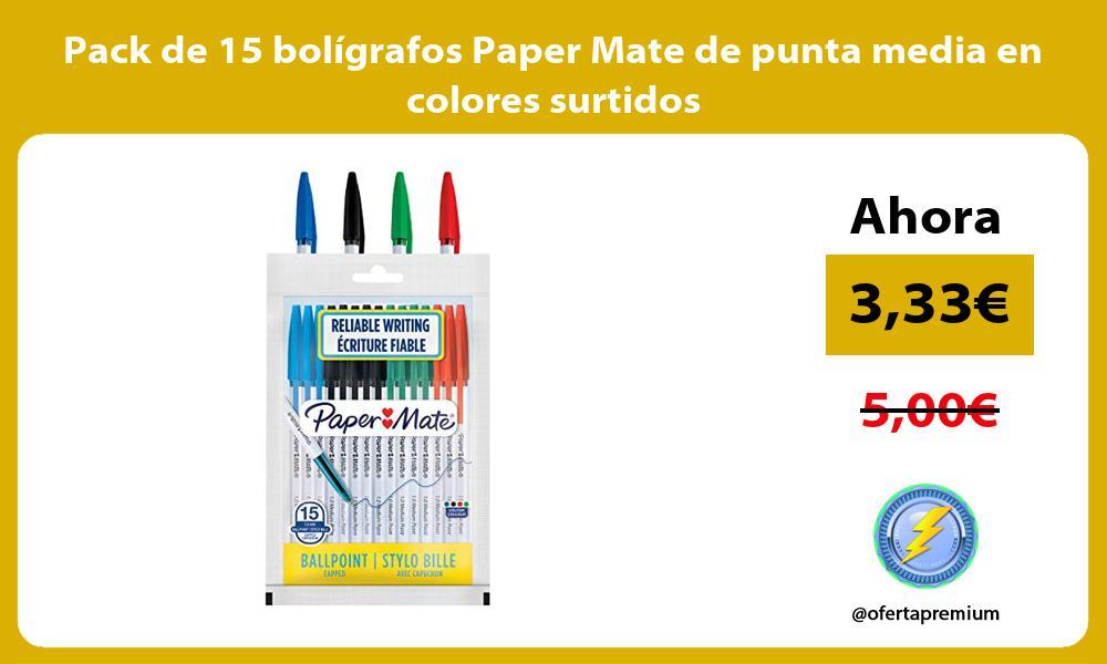Pack de 15 bolígrafos Paper Mate de punta media en colores surtidos