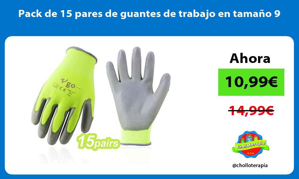Pack de 15 pares de guantes de trabajo en tamaño 9
