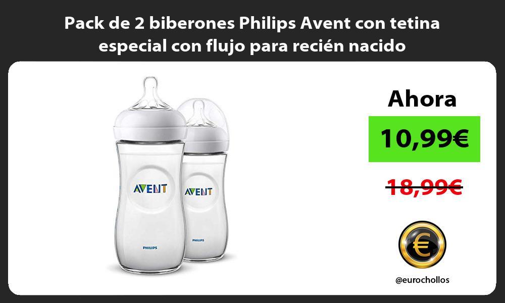 Pack de 2 biberones Philips Avent con tetina especial con flujo para recién nacido