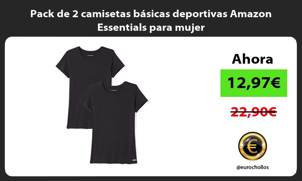 Pack de 2 camisetas básicas deportivas Amazon Essentials para mujer