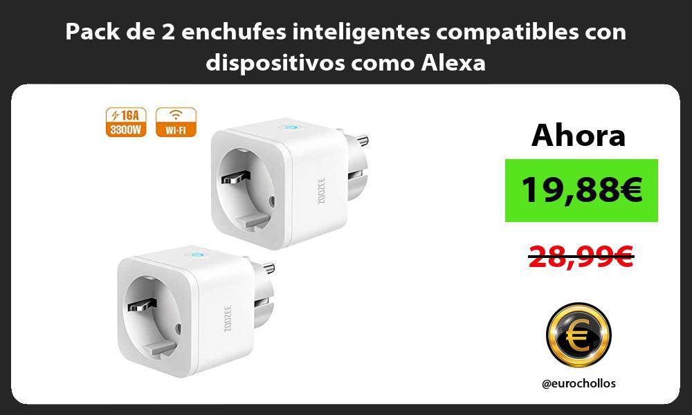 Pack de 2 enchufes inteligentes compatibles con dispositivos como Alexa