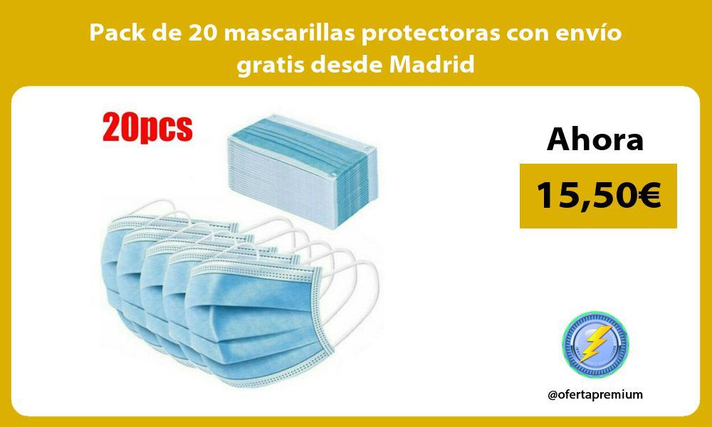Pack de 20 mascarillas protectoras con envío gratis desde Madrid