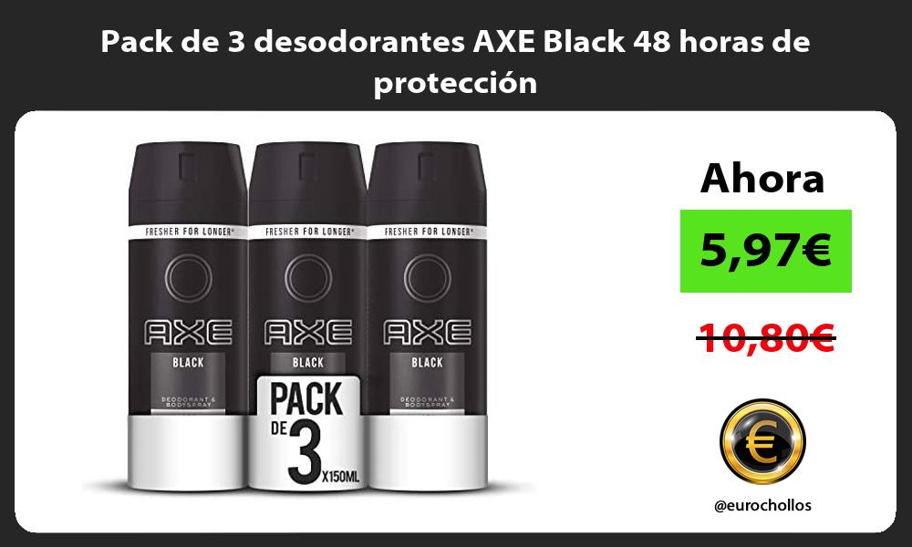 Pack de 3 desodorantes AXE Black 48 horas de protección