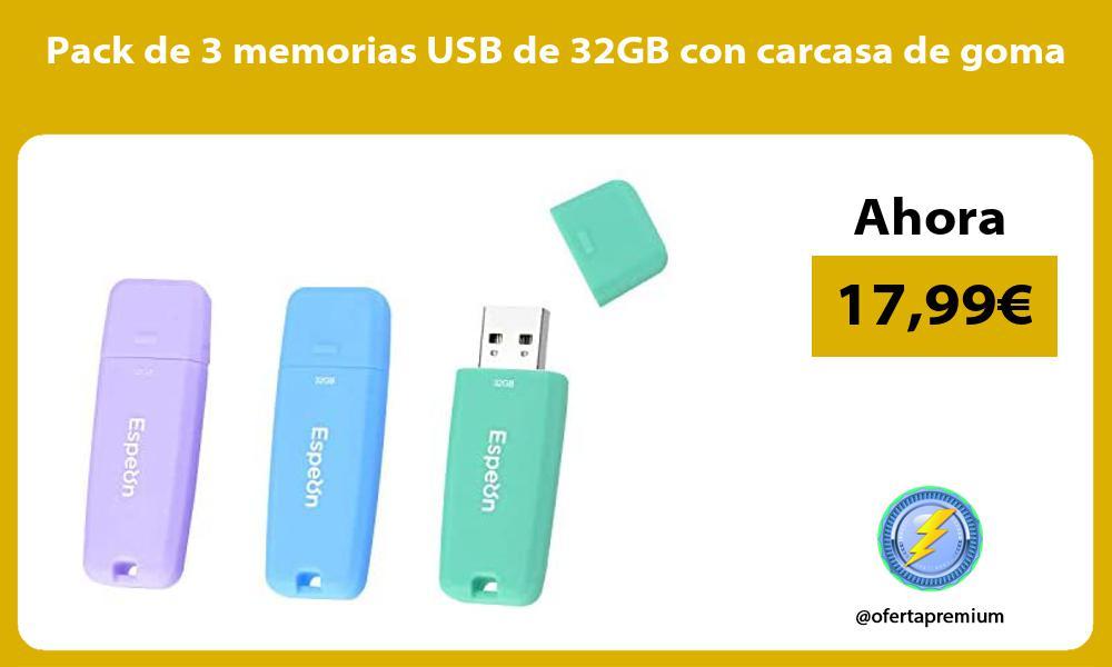 Pack de 3 memorias USB de 32GB con carcasa de goma