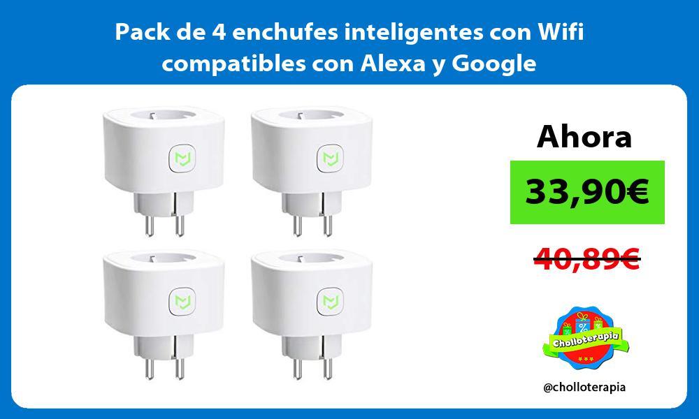 Pack de 4 enchufes inteligentes con Wifi compatibles con Alexa y Google