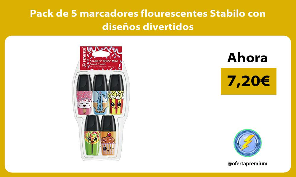Pack de 5 marcadores flourescentes Stabilo con diseños divertidos