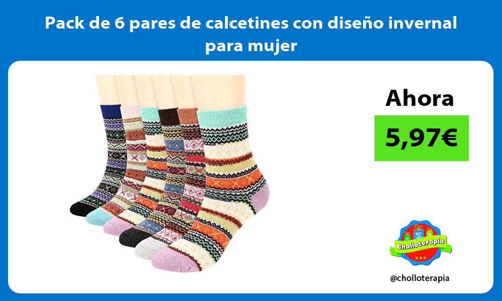 Pack de 6 pares de calcetines con diseño invernal para mujer