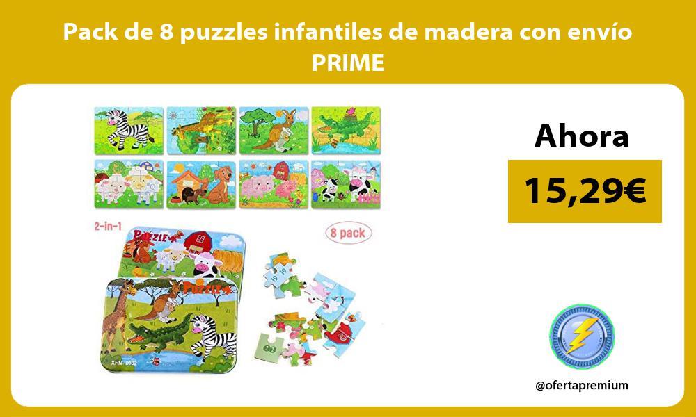 Pack de 8 puzzles infantiles de madera con envío PRIME