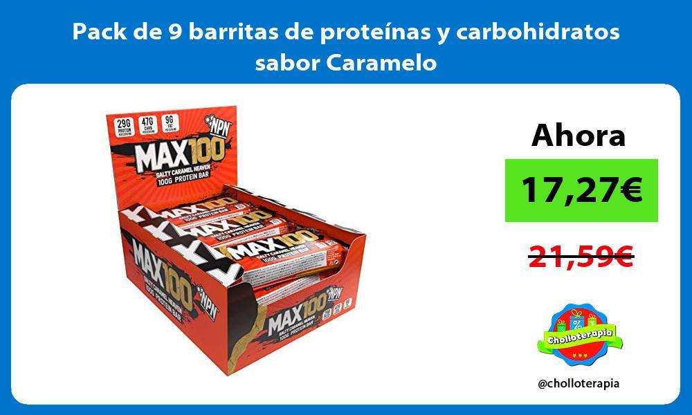 Pack de 9 barritas de proteínas y carbohidratos sabor Caramelo