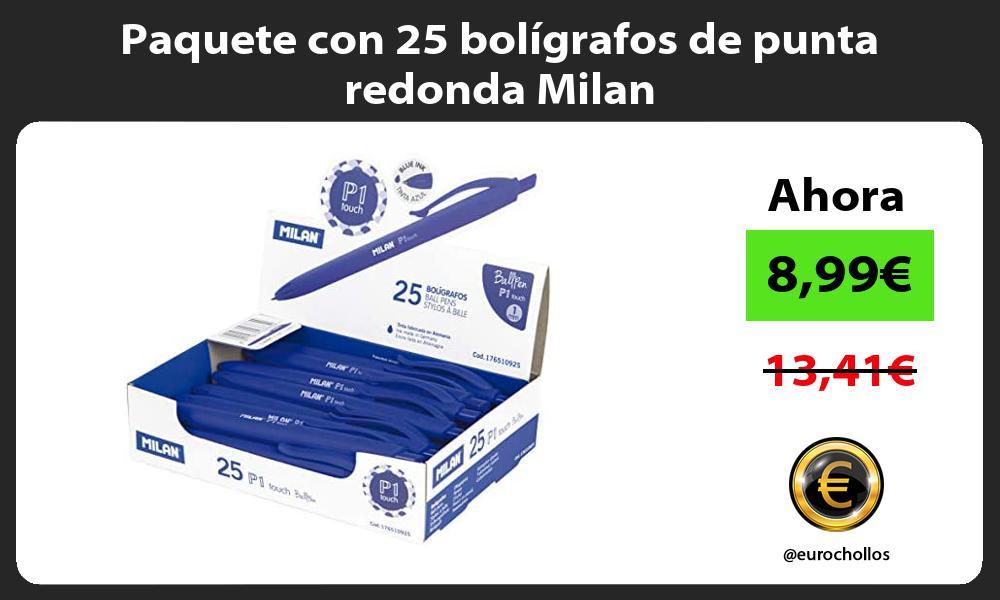Paquete con 25 bolígrafos de punta redonda Milan