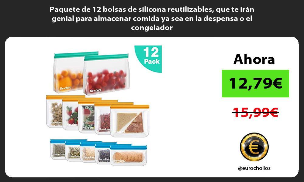Paquete de 12 bolsas de silicona reutilizables que te irán genial para almacenar comida ya sea en la despensa o el congelador