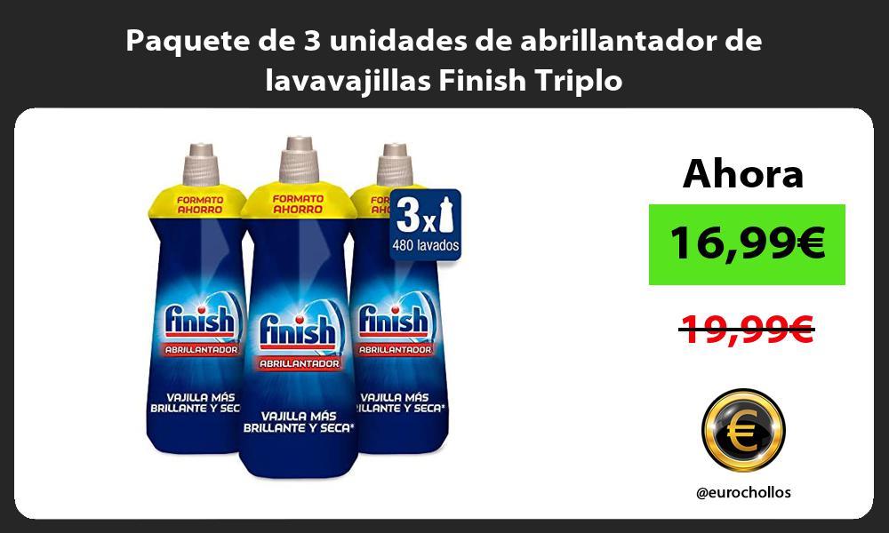 Paquete de 3 unidades de abrillantador de lavavajillas Finish Triplo