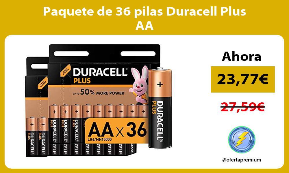 Paquete de 36 pilas Duracell Plus AA