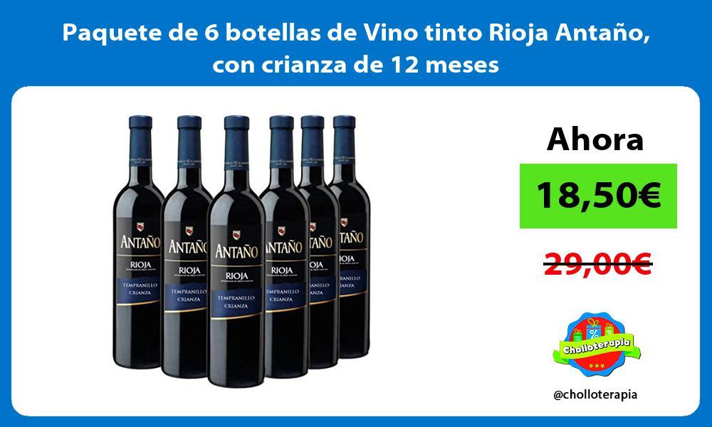 Paquete de 6 botellas de Vino tinto Rioja Antaño con crianza de 12 meses