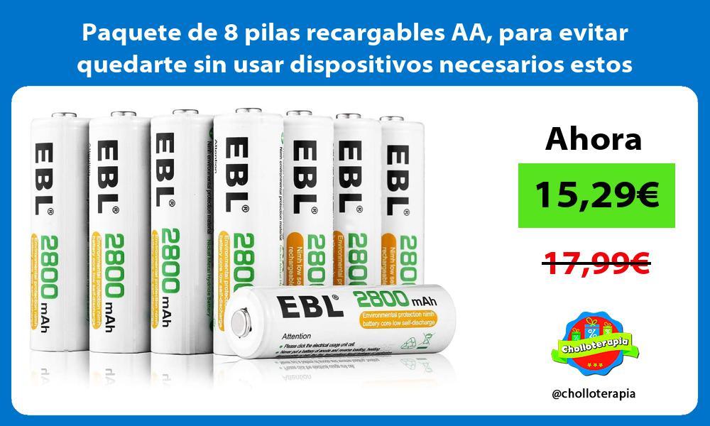 Paquete de 8 pilas recargables AA para evitar quedarte sin usar dispositivos necesarios estos días
