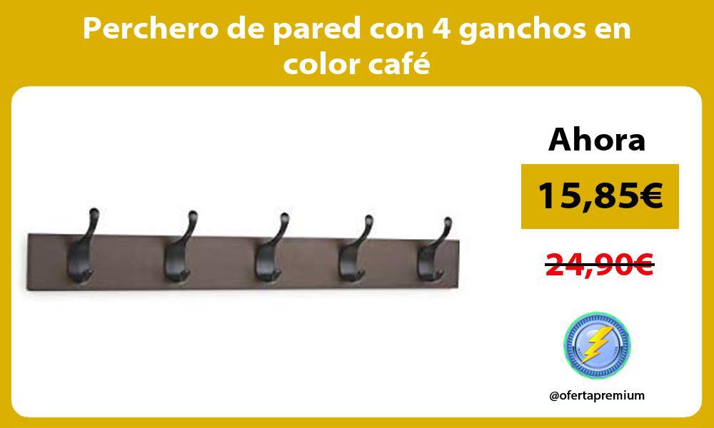 Perchero de pared con 4 ganchos en color café
