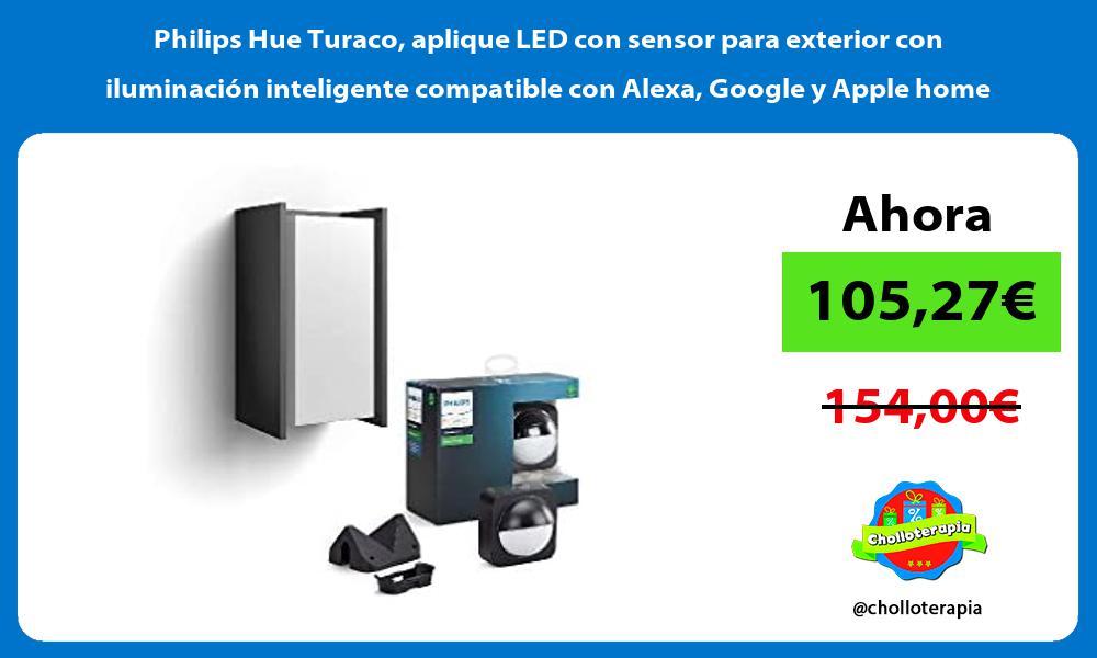 Philips Hue Turaco aplique LED con sensor para exterior con iluminación inteligente compatible con Alexa Google y Apple home