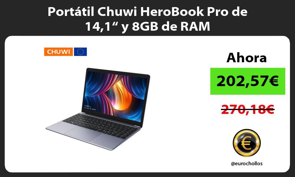 """Portátil Chuwi HeroBook Pro de 141"""" y 8GB de RAM"""