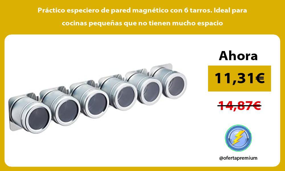 Práctico especiero de pared magnético con 6 tarros Ideal para cocinas pequeñas que no tienen mucho espacio