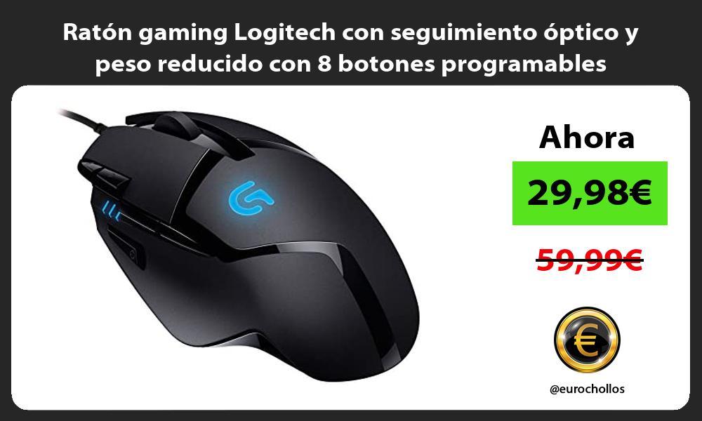 Ratón gaming Logitech con seguimiento óptico y peso reducido con 8 botones programables