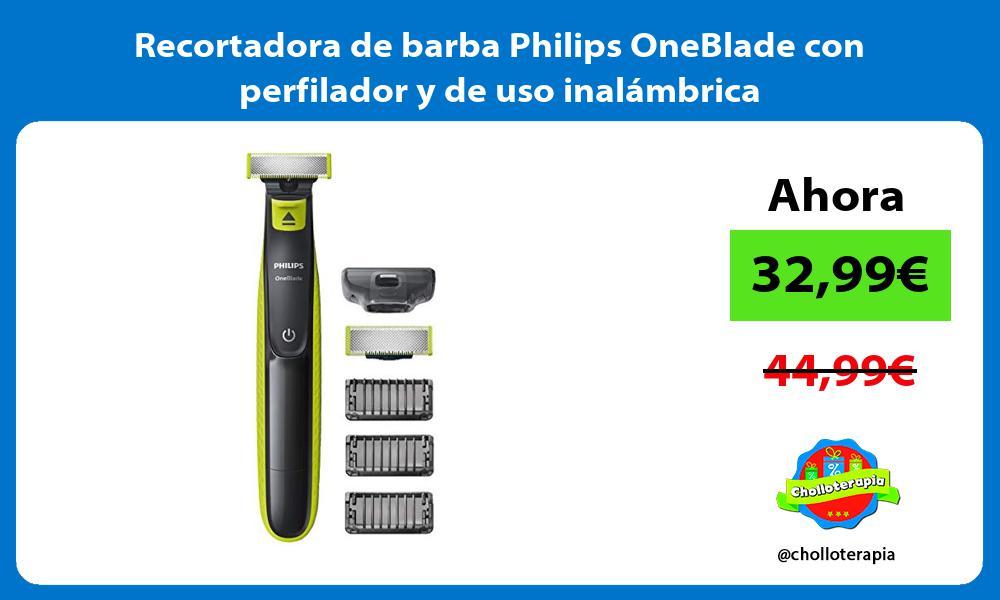 Recortadora de barba Philips OneBlade con perfilador y de uso inalámbrica