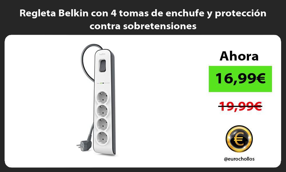 Regleta Belkin con 4 tomas de enchufe y protección contra sobretensiones