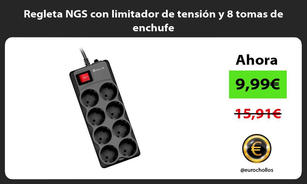 Regleta NGS con limitador de tensión y 8 tomas de enchufe