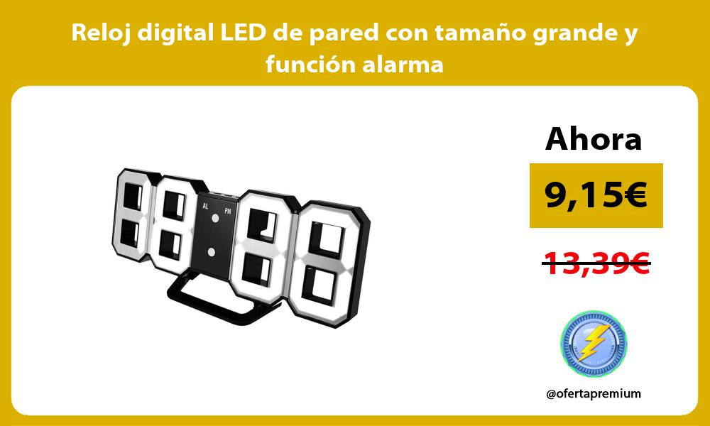Reloj digital LED de pared con tamaño grande y función alarma