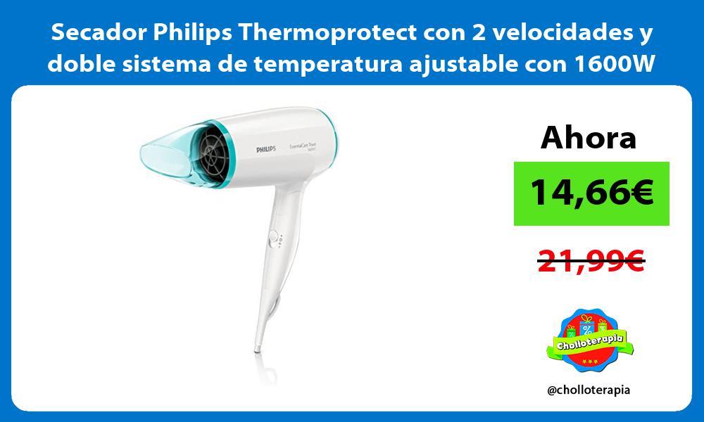 Secador Philips Thermoprotect con 2 velocidades y doble sistema de temperatura ajustable con 1600W