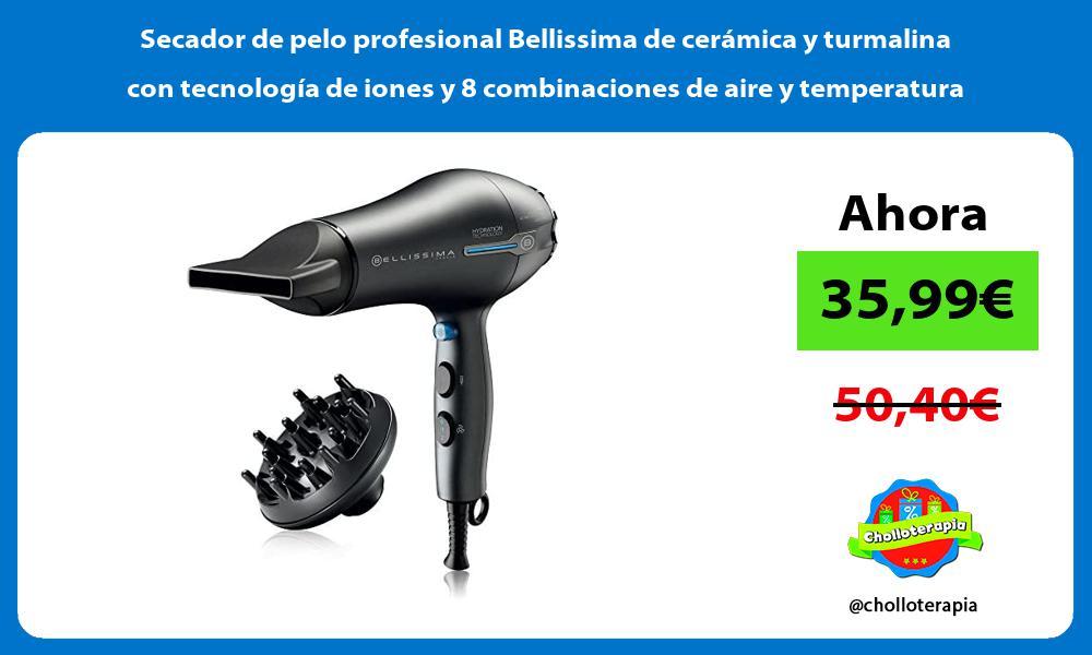 Secador de pelo profesional Bellissima de cerámica y turmalina con tecnología de iones y 8 combinaciones de aire y temperatura
