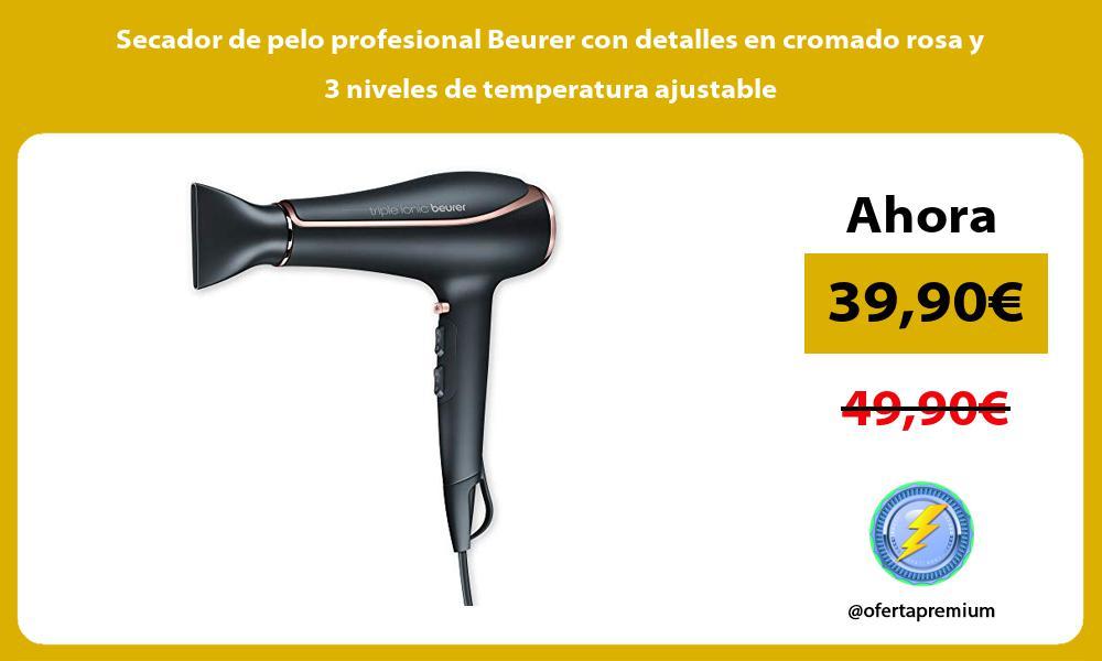 Secador de pelo profesional Beurer con detalles en cromado rosa y 3 niveles de temperatura ajustable