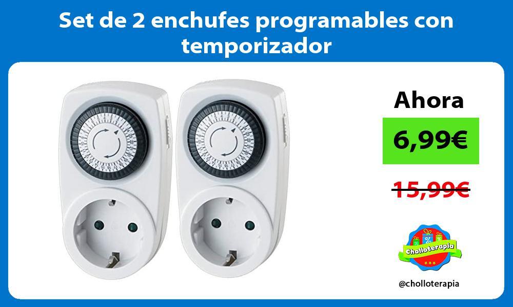 Set de 2 enchufes programables con temporizador