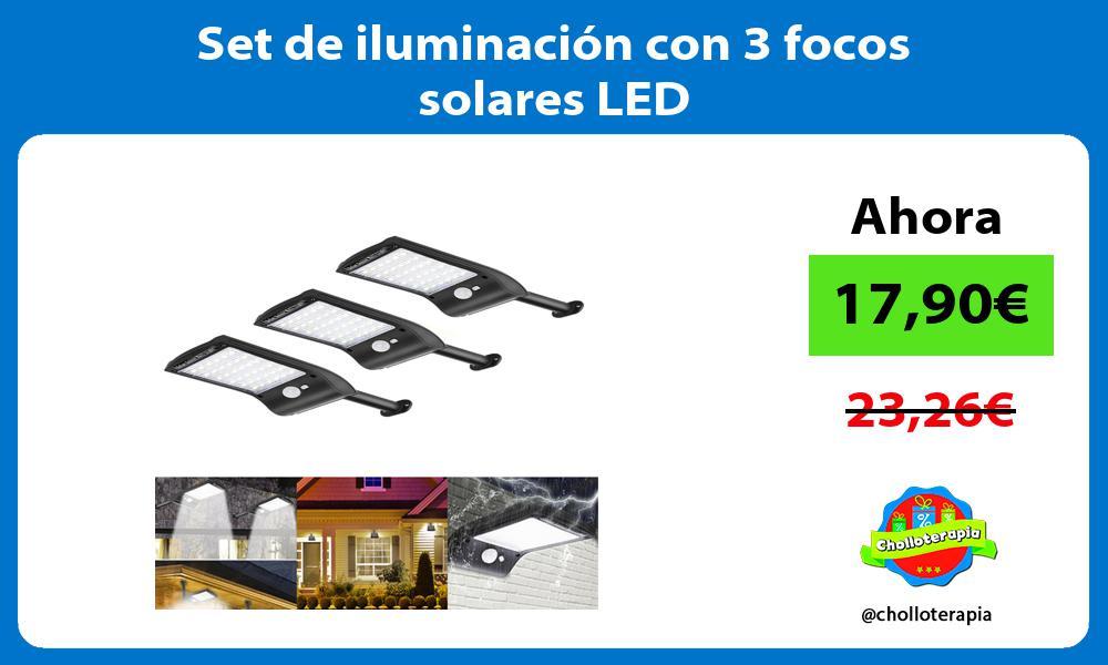 Set de iluminación con 3 focos solares LED
