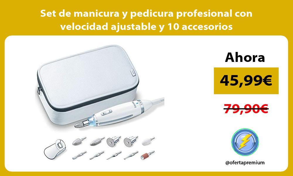 Set de manicura y pedicura profesional con velocidad ajustable y 10 accesorios